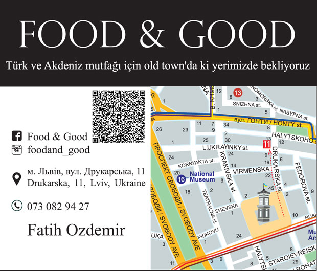 Food And Good, Lviv Türk Restoranı, Lviv de nerede ne yenir, Lviv, Yemek, Food, Cafe, Coffee, Türk Çayı, Türk yemekleri, Helal et, Lviv de nerede et yenir